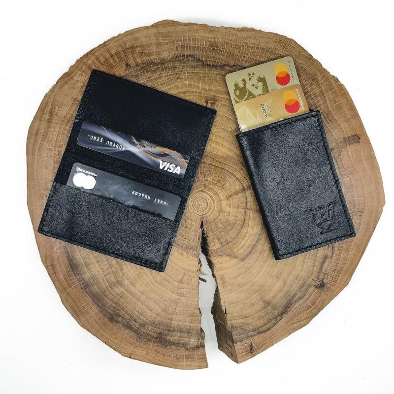 Černý kožený karetník